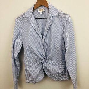 Talbots Stripe Twist Front Button Up Shirt 14